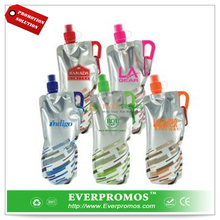 Promotional 30oz. Carabiner Lazer Flat sport collapsible water bottle