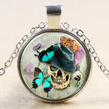 XP-TGN-S-104 Newest Diy Image Glass Vintage Meaningful Pendant Antique Skull Dome Cabochon Necklace In Alloy