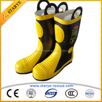 Fireman Footwear Anti-Smash Natural Rubber Fire Resistant Boots