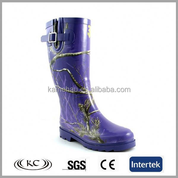 fashion low price wholesale purple printed rubber wellies women cheap rain boots with buckle