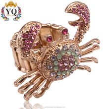 RLX-00154 hot bling bling lovely crab animal ring pave diamond ring orignal design rhinestone gold plated elastic adjustable