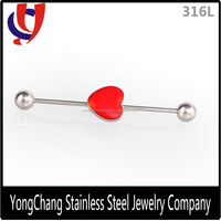 316L steel 16 Gauge 38MM Red Heart Industrial Barbell Ear helix piercing