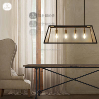 Caren vintage industrial matt black cooper glass box shade pendant lamp chandelier P6228 -4