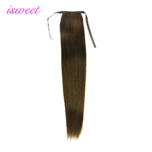 Wholesale Isweet popular human clip drawstring hair ponytail virgin Brazilian remy hair ponytail extension