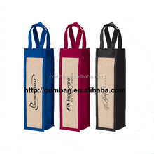 custom jute mini wine bottle bags jute fabric single wine bottle bag
