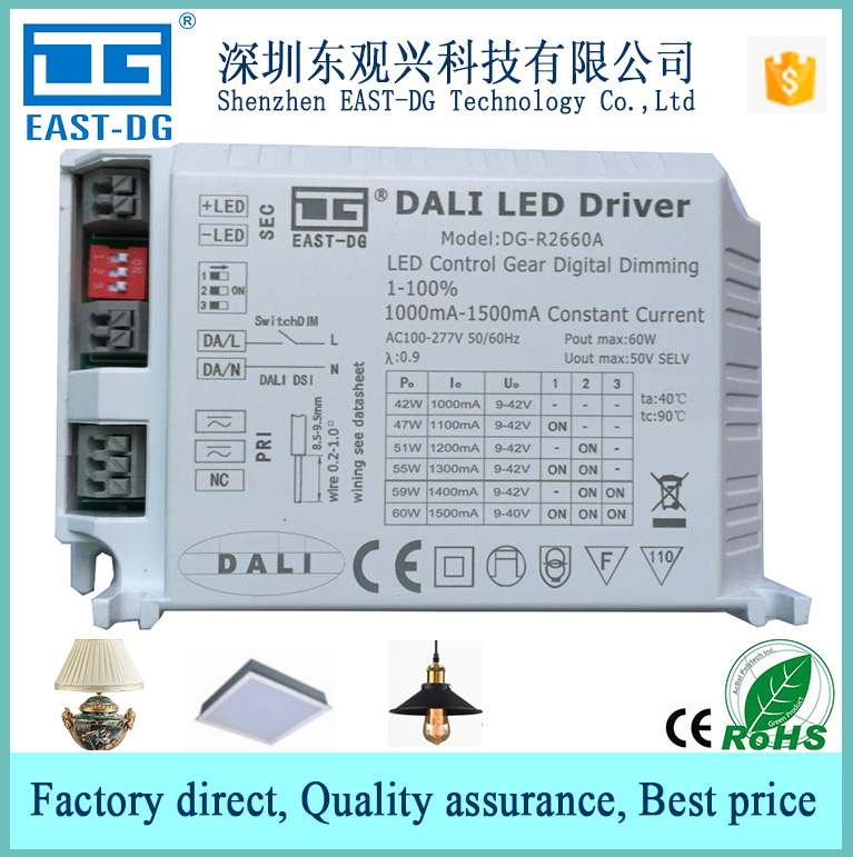R2660 China <strong>Manufacture</strong> 10W 20W 30w 40W 50w 60W dali led dimmer push dimmable Dali led driver with CE 3 years Warranty