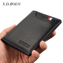 2017 Hot Selling Light Card Holder Purse Soft Genuine Leather Mens Slim Wallet