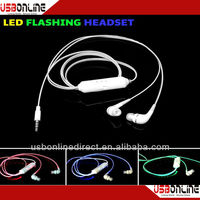 Christmas Gift Plug GREEN Light Mobile MP3 MP4 Led Flashing light earphone