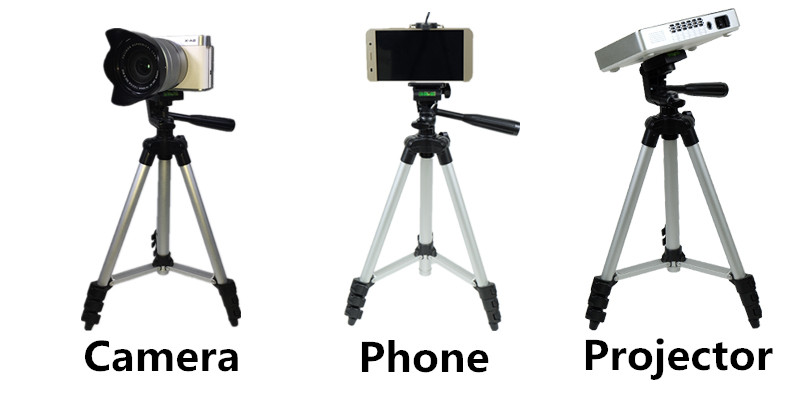 Portable Extendable Tripod Stand Projector Holder Support Phone Camera DV silver 35cm 1