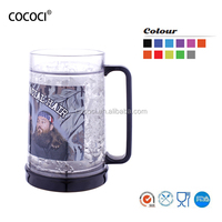 500ml double wall plastic freezer mugs for beer