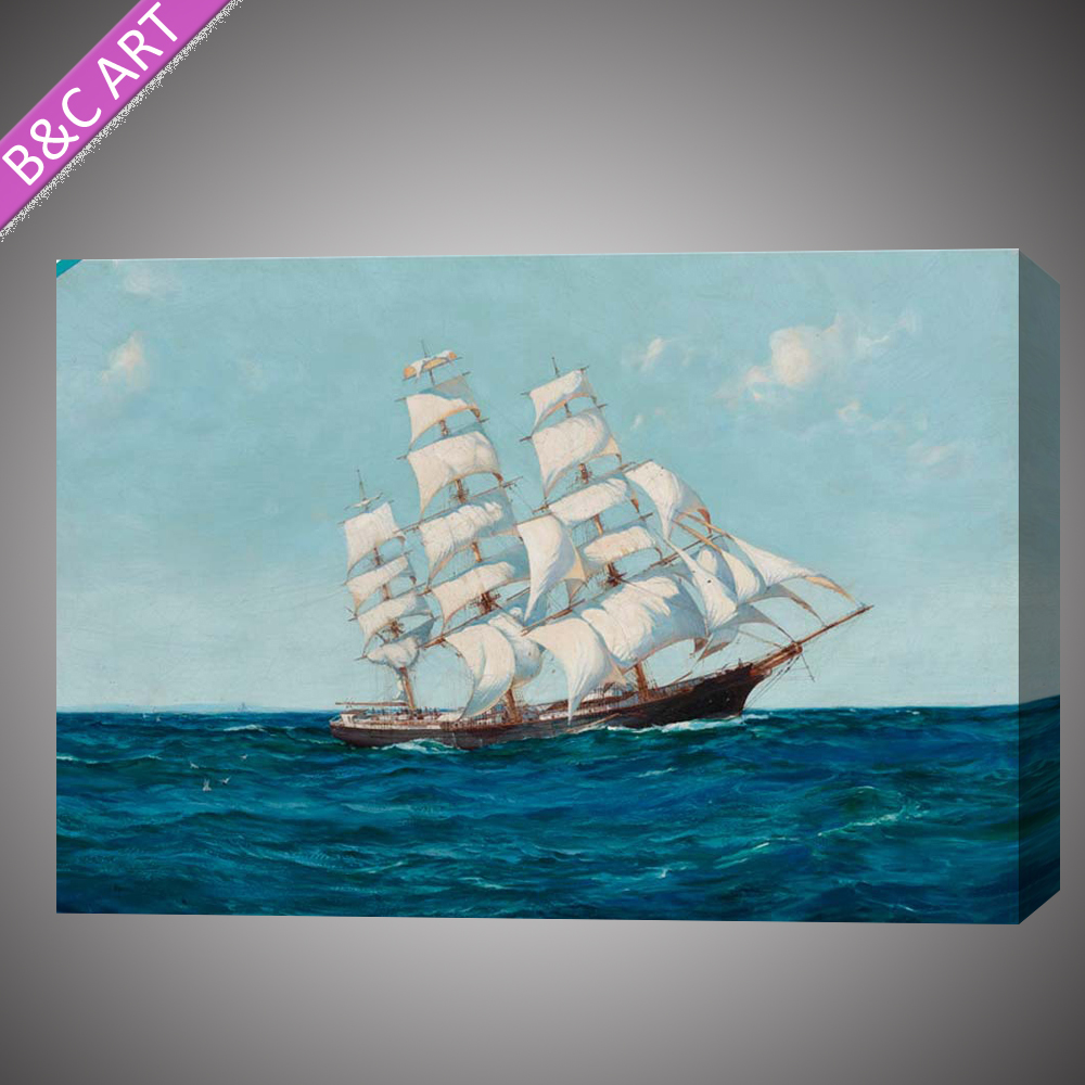 High quality handmade sail ship oil painting ready to hang