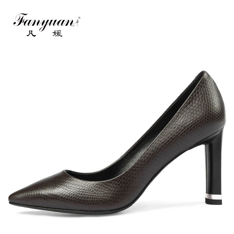 Italian Genuine Leather Pointed Toe Office Lady High Heel Women Dress Shoes