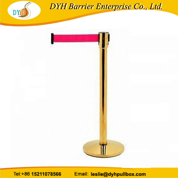 Gold retractable stanchion rope and cafe wind barrier,railway retractable belt stanchion