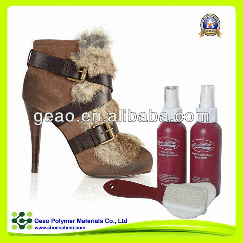liquid water repellent for nubuck and suede leather boots with brush