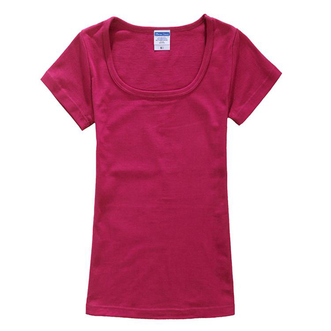 U-Neck Unbranded Blank Wholesale Tagless Women Plain T Shirts Made In China