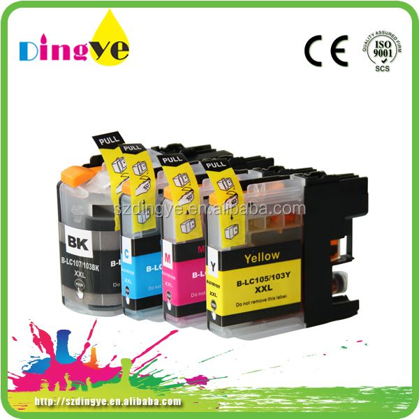 LC 103 <strong>105</strong> 107 compatible cartridge indelible ink for brother remanufactured cartridge