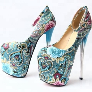 SS0155 Customized big size 43 ladies high heel ethnic style printed shoes 2018 latest women fashion platform shoes