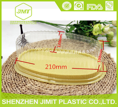 Food grade PET oval shape PLASTIC clear lid gold base mousse cake box bread box