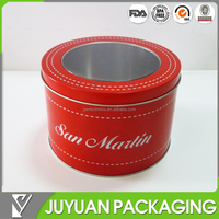 Round metal can with pvc clear lid top for watch or toy packaging