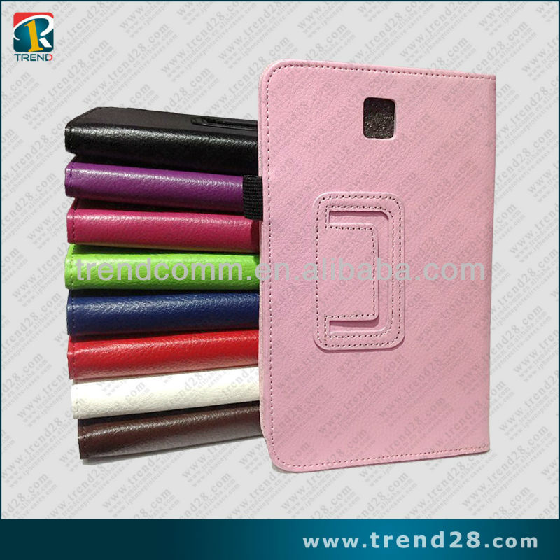 2013 new litchi stria design wallet leather case for samsung galaxy tab 3 p3200