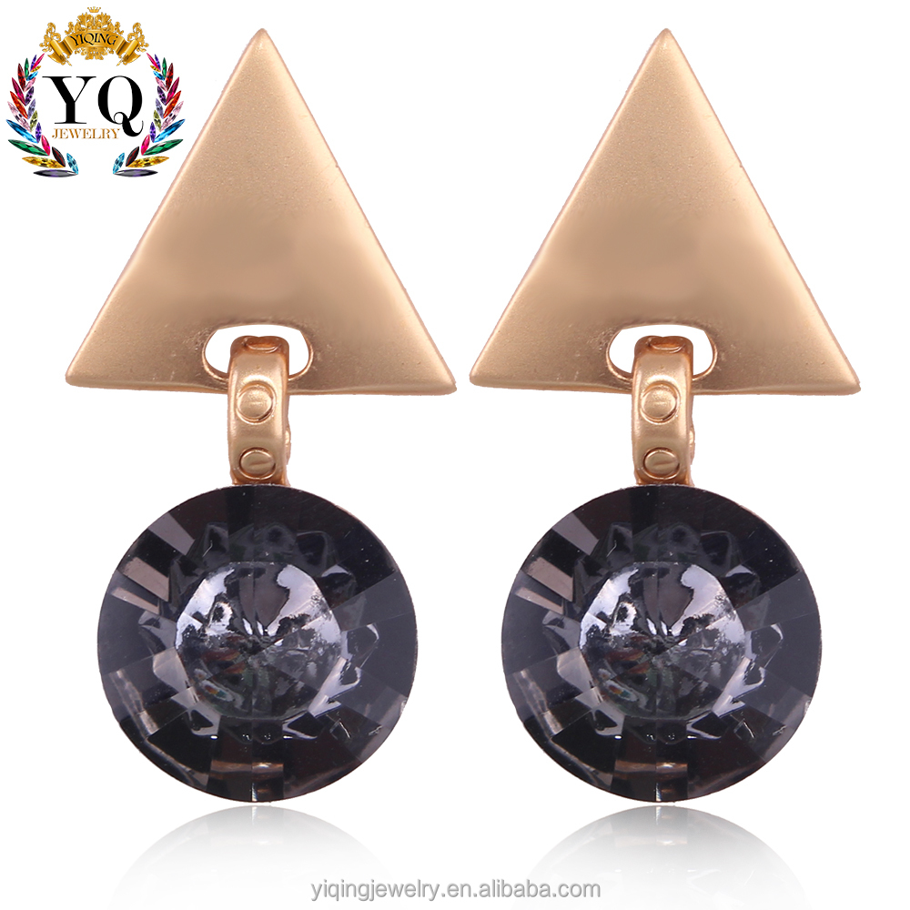 EYQ-00279 fashion fancy design charming silver/gold plated triangle alloy circle crystal earrings