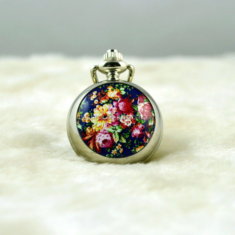 Exquisite enamel rose small pocket watch