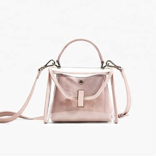 China factory faux leather beautiful ladies Transparent handbag
