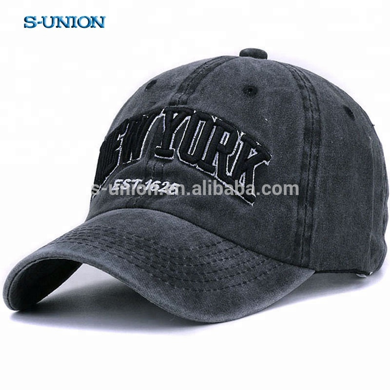 S-UNION customized Vintage dad hats outdoor embroidery letters NEW YORK washed100% cotton baseball <strong>caps</strong>