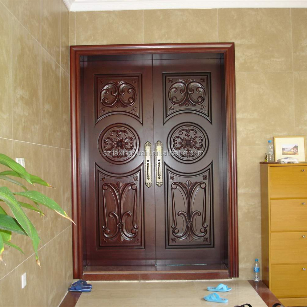 Traditional arched wooden main door design buy wooden for Big main door designs