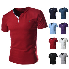 The new 2015 men v-neck bead to render a T-shirt with short sleeves