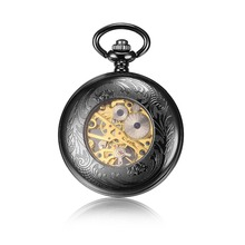customized my logo mechanical pocket watch chain custom black steampunk fob pocket watch bulk pendant mechanical watch men