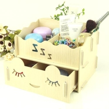 Cartoon Creative Wooden Double Drawer DIY Cosmetic Make up Collection Organizer Cute Lovely Romantic Desktop Storage Box