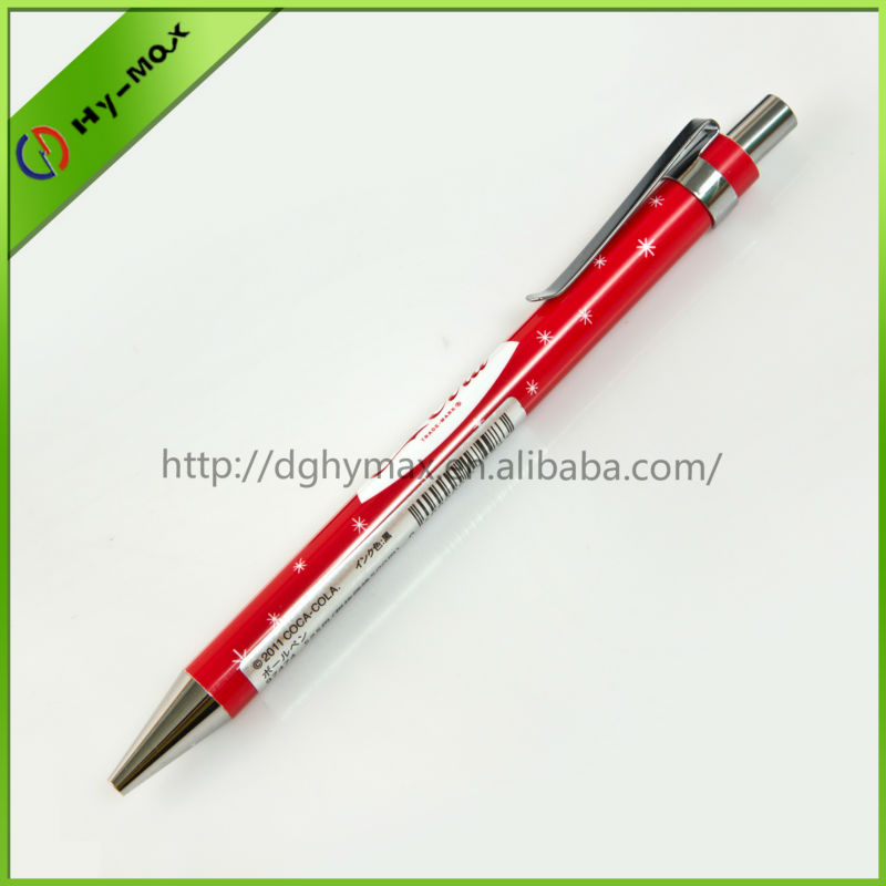 promotional bulk drink industry red automatical ballpoint pen