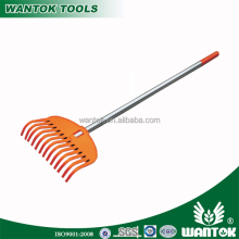 Plasitc material garden lawn leaf rake with telescopic adjustable aluminium handle