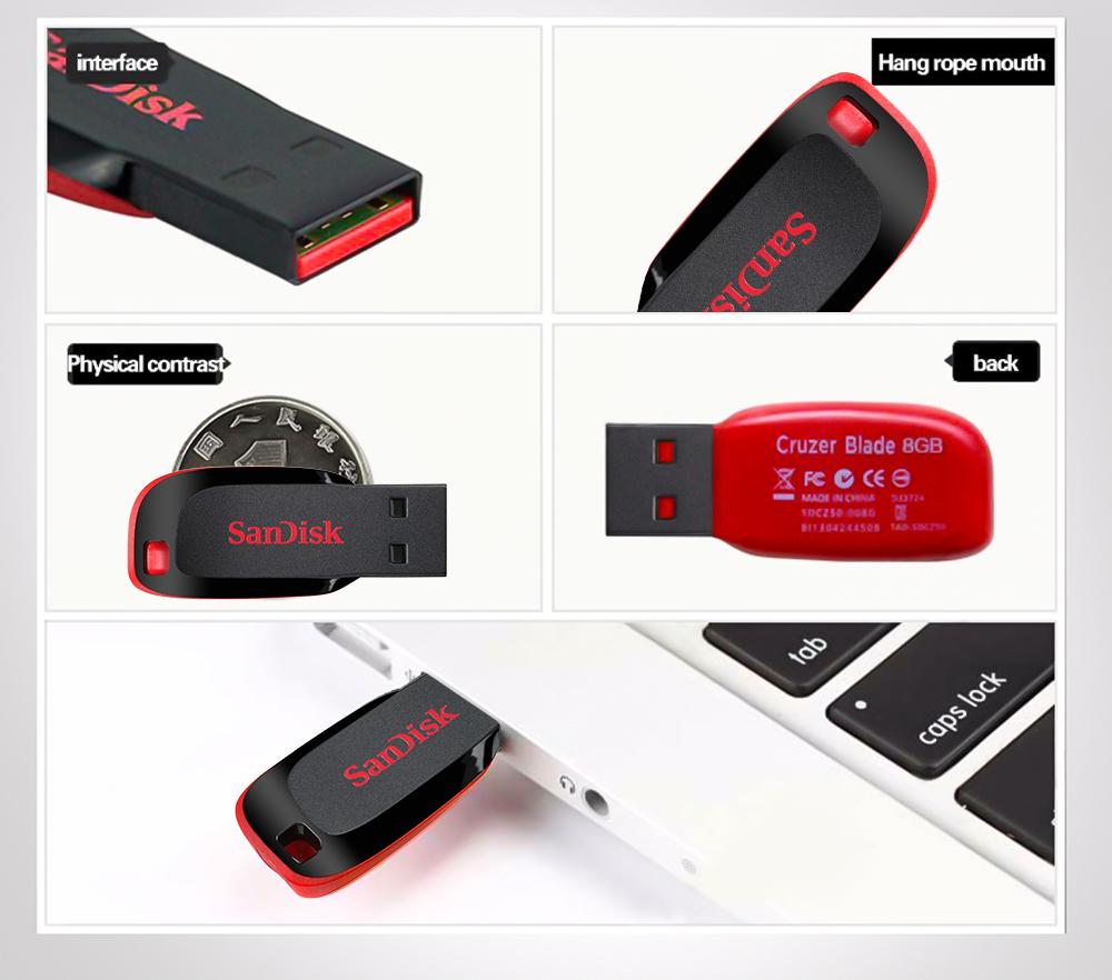 Sandisk Usb Flash Drive Blade Shape U Disk 4gb 8gb 16gb 32gb 64gb Flashdisk Green Qq20171129114245