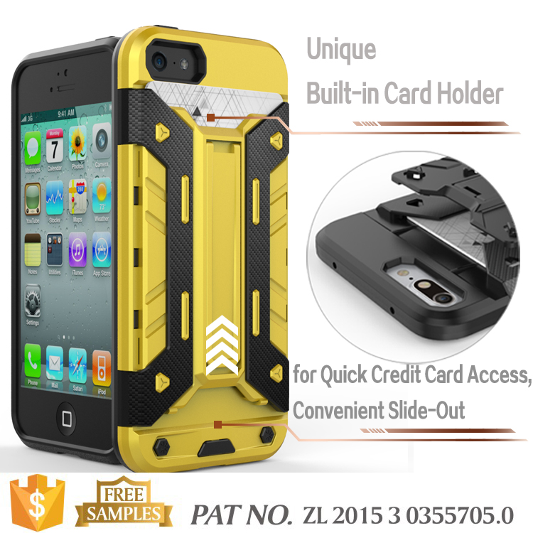 Kickstand card holder bumper bulk case for iphone 5