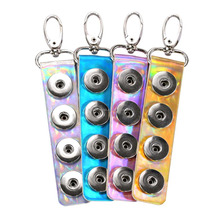 Wholesale Laser PU Leather Snap Button Noosa Keychain