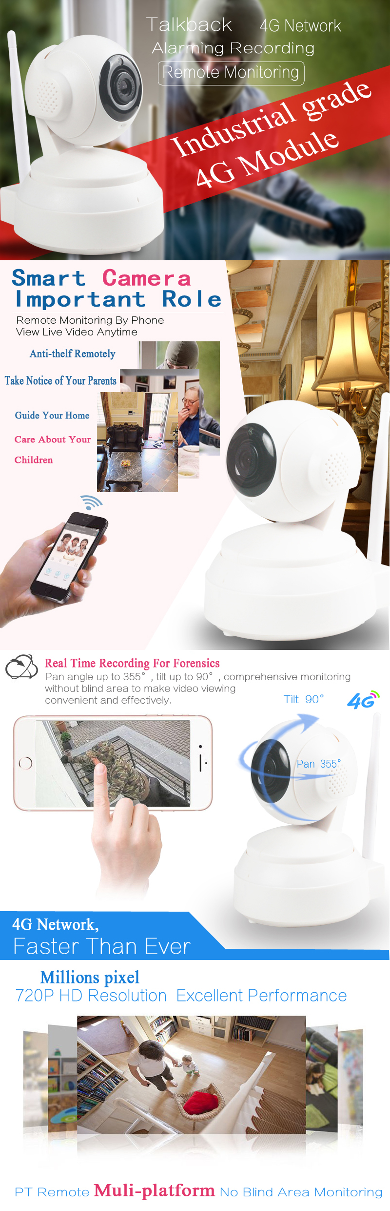 Indoor pan & tilt smart ip camera p2p remote control wireless 4g security camera sim card