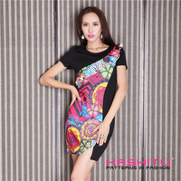 heat transfer printed dresses for women fashionable cutting high waist new patterns 2015
