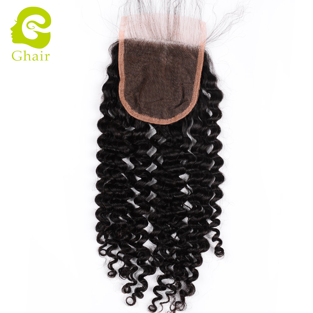 Fast delivery straight brazilian human black deep curly virgin hair free parting <strong>l</strong> cheap lace closure