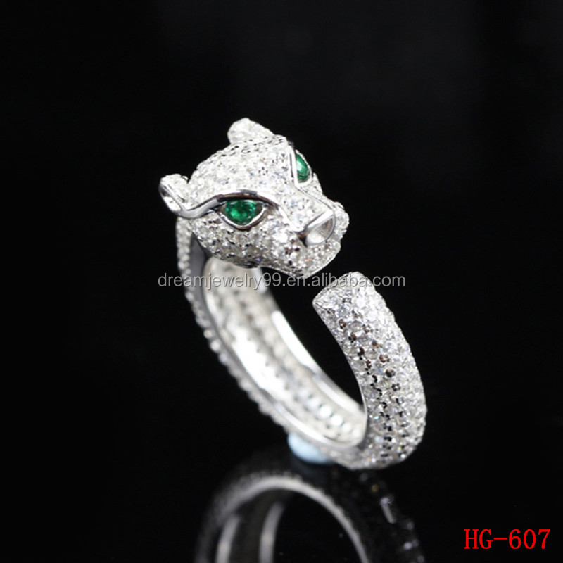 Jewelry Supplier Latest Design Cubic Zirconia Mirco Paving Rhodium Plating 925 Sterling Silver Leopard Ring