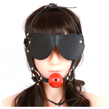 Leather Gag With Blindfold Adult Toys Eye Mask With Mouth Ball Gag