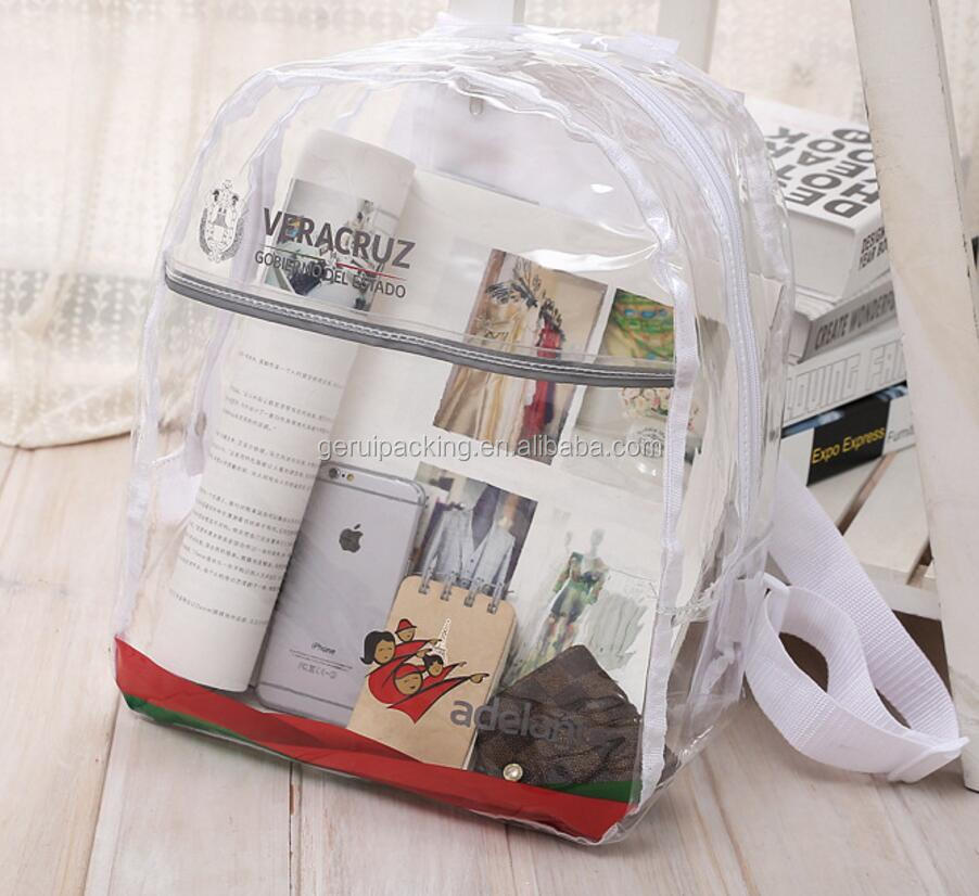 Custom Cheap Cute Transparent PVC Backpack Beach Bag