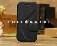 Black Wooden Print Soft TPU+PU Leather Stand Case Compatible for Apple iPhone 5C