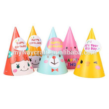 Cheap price glossy lamination paper handmade birthday party hat for mother and child