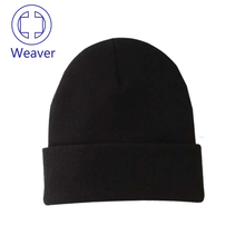 Promotion High Quality Black warm knitted hat blank beanie customized winter hat sports cap