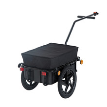 Aosom Black Double Wheel Internal Frame Enclosed Bicycle Cargo Trailer