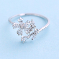 Creative gifts Micro pave zircon stone snowflake jewelry infinity symbol rings