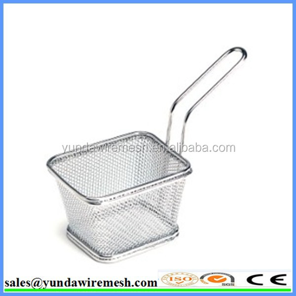 French mini square deep frying strainer/ deep fry wire basket