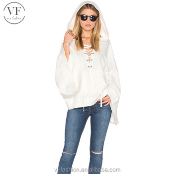 High quality white 100% cotton laceup cape coat for women